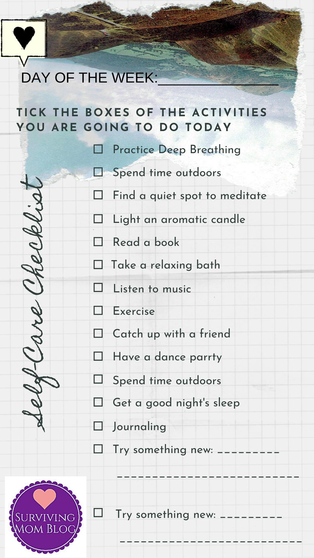 Daily Self-Care Worksheet Bundle (2)