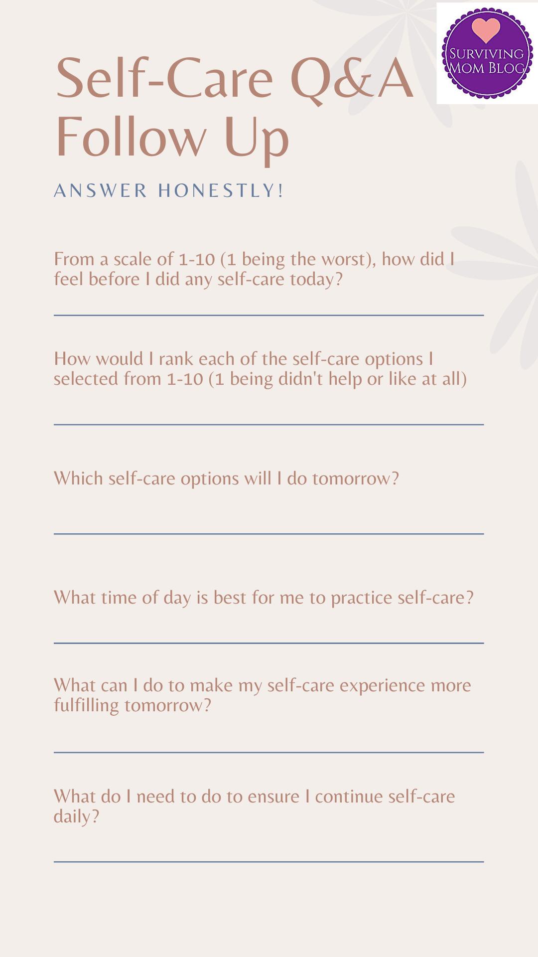 Daily Self-Care Worksheet Bundle (3)
