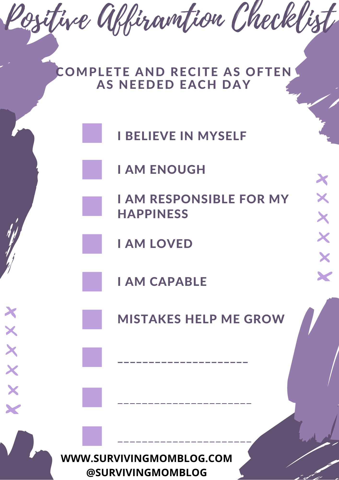 self love - positive affirmation checklist