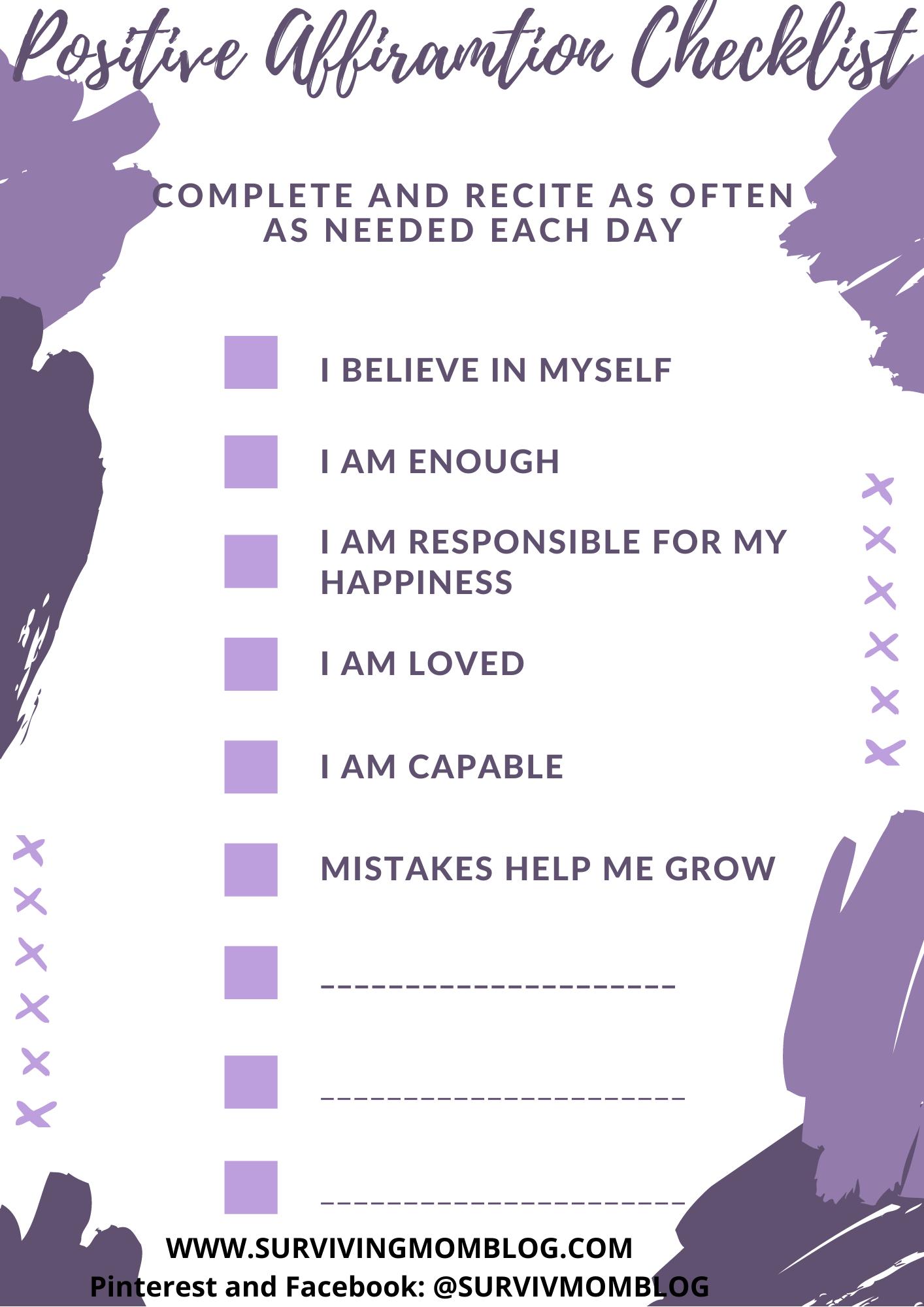 positive affirmation checklist